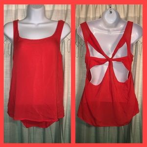 Charlotte Russe Coral Tank Top with Cut-Out Back M